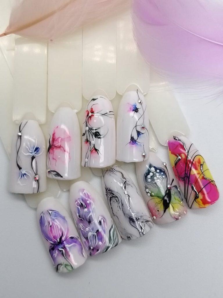дизайны ногтей с акварельными каплями